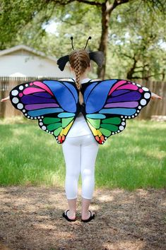 Items similar to Rainbow Monarch Butterfly Wings Costume Ages 6 Months to Adult on Etsy Butterfly Wings Costume, Butterfly Halloween, Monarch Butterfly Costume, Kids Dress Wear, Fancy Dress, Family Halloween Costumes, Diy Costumes, Halloween Parties, Rainbow Butterfly