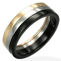 Three Colour Mens Ring In Stainless Steel 6mm