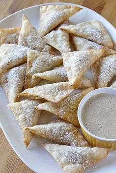 Pumpkin Pie Wontons with a Creamy Maple Dip -- I doubt I'd ever make these, but they just sound delicious!! Haha
