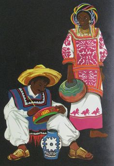 This colorful illustration appears in the little book about How to paint Mexican Folk Art.  The costume worn by the woman is quite fanciful.  the huipil and skirt look much like the garments worn by Mazatec women of the Huautla de Jimenez area of Oaxaca. But, the women there don't use a head wrap like that shown in this painting.  The man who is painting the pottery or gourds is wearing the kind of white pants one would see Totonac men of the Veracruz coast wearing.  But serapes like his ...