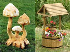 15 idei frumoase pentru decoratiuni de gradina din lemn