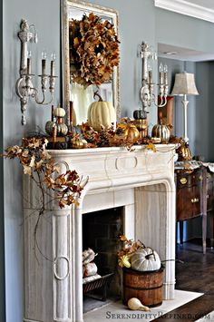 Serendipity Refined: French Country Fall Mantel: Neutrals, Naturals and Metallics