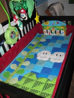 Super Mario Brothers, Super Mario Brothers Theme Little Boys Boy to Toddler to Kid Room., Mario Blanket with Hills, Clouds and Beanstalk, Boys Rooms Design Baby Boy Rooms, Baby Room, Super Mario Nursery, Nursery Room, Nursery Ideas, Room Ideas, Bedroom, Mario Room, Boys Room Design