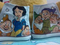 Snow White and the Seven Dwarfs hand painted shoes.