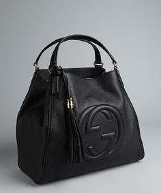 Gucci black textured leather 'Soho' large tote |