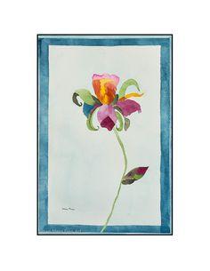 "Original Watercolor by Susan Marie Fairclough, Colorful Iris, 15"" X 22"" Unmatted"