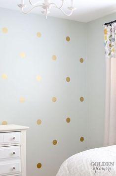 trendy diy home decor gold polka dots Polka Dot Nursery, Polka Dot Walls, Gold Polka Dots, Bedroom Crafts, Diy Room Decor, Home Decor, Diy Bedroom, Bedroom Ideas, Teen Furniture