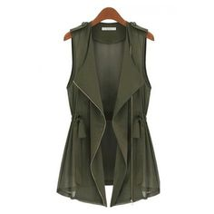 Army Green Drawstring Zipper V-neck Sleeveless Chiffon Vest ❤ liked on Polyvore featuring outerwear, vests, jackets, tops, v neck vest, green military vest, vest waistcoat, chiffon vest and zip vest