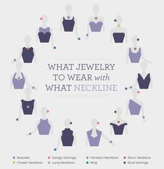 Jewelry For Moms Guide to what kinds of jewelry to wear with different necklines. Great tips for prom jewelry or formal occasions!Guide to what kinds of jewelry to wear with different necklines. Great tips for prom jewelry or formal occasions! Look Fashion, Fashion Beauty, Fashion Tips, Fashion Design, Cheap Fashion, Fashion Women, Fashion Ideas, Feminine Fashion, Latest Fashion