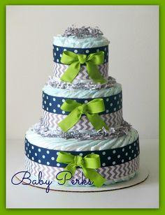 grey green navy diaper cake