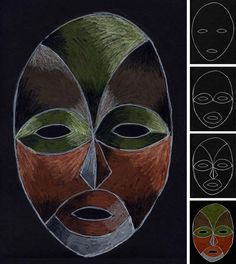 Lois Mailou Jones Mask · Art Projects for Kids - This Lois Mailou Jones-inspired drawing is in honor of Black History month. Freida Pinto, Black History Month, History Projects, Art History, Le Baobab, African Art Projects, Black Paper Drawing, 4th Grade Art, Africa Art