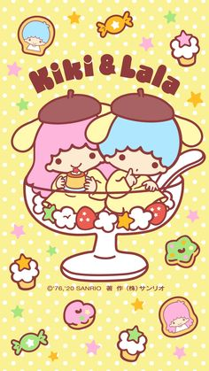 Little Twin Stars Wallpaper 2020 四月桌布 日本官方Twitter布甸版 Sanrio Wallpaper, Star Wallpaper, Hello Kitty Wallpaper, Kawaii Wallpaper, Pattern Wallpaper, Iphone Wallpaper, Little Twin Stars, Little Star, Minecraft Pixel Art