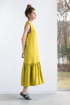 Drop ruffle maxi linen dress. Washed and soft by notPERFECTLINEN