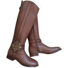 Pre-owned Tory Burch New Amanda Riding Almond Leather Sz 5.5 Fast... ($400) ❤ liked on Polyvore featuring shoes, boots, brown, equestrian boots, brown boots, brown leather boots, genuine leather riding boots and real leather boots