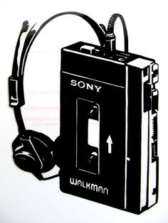 1979 Sony Walkman Pop Art Reusable Black by RoughArtGoesPop Stencil Patterns, Stencil Art, Stencils, Negative And Positive Space, Band Posters, Fun Loving, African Style, Pop Art, Vinyl Decals