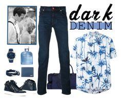 """Dark Denim"" by saphirange ❤ liked on Polyvore featuring EA7 Emporio Armani, Jacob CohÃ«n, Yves Saint Laurent, Louis Leeman, MIANSAI, Dolce&Gabbana, Salvatore Ferragamo, men's fashion, menswear and darkdenim"