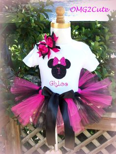 Minnie Mouse Birthday OutfitSPARKLE with bow shirt and by OMG2Cute, $46.95