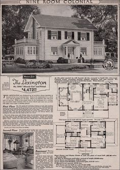 Colonial Revival - 1923 Sears Kit House - Classic side gable with sun room Colonial House Plans, Colonial Style Homes, House Floor Plans, Dutch Colonial, Vintage House Plans, Horror House, Sims House, Kit Homes, Historic Homes