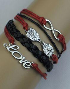 Infinity, Owls, Love Wrap Bracelet – Black/Red  $15.00  Fashion Jewelry at Modest Prices - www.gomodestly.com