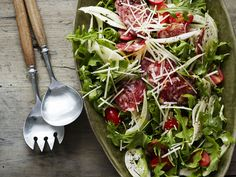 Salami Salad recipe from Katie Lee via Food Network Side Recipes, New Recipes, Healthy Recipes, Healthy Foods, Appetizer Recipes, Salad Recipes, Dinner Recipes, Appetizers, Salad Bar