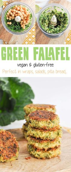 Recipe for vegan & gluten-free Green Falafel. Super easy and quick to make, don't require soaking of the chickpeas. Yield about 12 Falafel. Veggie Recipes, Whole Food Recipes, Vegetarian Recipes, Cooking Recipes, Healthy Recipes, Healthy Dinners, Veggie Food, Vegan Recipes Spinach, Vegan Chickpea Recipes