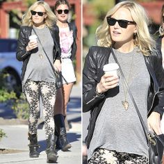 Malin Akerman's Edgy Mix: Floral Leggings and Leather Jacket