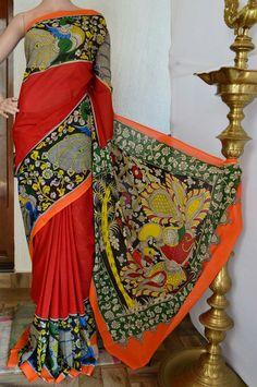Kalamkari cotton saree Code:A0418KH331302 Cost:3500 INR Whatsapp: 91 7019277192