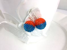 Two Tone Orange and Aqua Blue Sparkling Earrings by frompgwithlove, $18.00