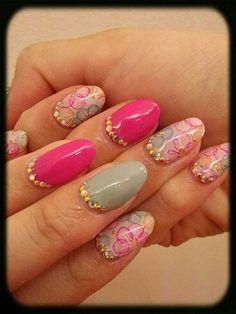 Pink floral diseños de uñas