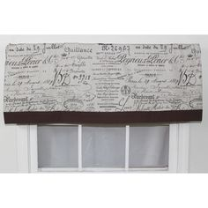@Overstock - This straight valance features the ever popular French script and is banded in dark chocolate. The Valance is lined and measures 16-inches long, and fits a window up to 48-inches wide.http://www.overstock.com/Home-Garden/Document-Fossil-Straight-Window-Valance/7857177/product.html?CID=214117 $48.99