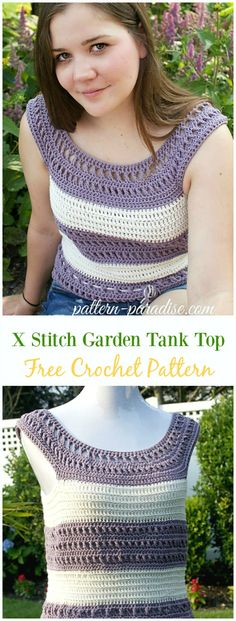Crochet X Stitch Garden Tank Top Free Pattern -Crochet Summer Top Free Patterns