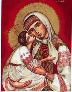 blessed mother Mary in Ukranian style clothing
