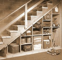 Basement Stair Storage - can be done! by MarylinJ Basement Stair Storage - can be done! by MarylinJ Basement Makeover, Basement Renovations, Home Remodeling, Basement Ideas, Unfinished Basement Storage, Basement Shelving, Basement Plans, Wooden Garage Shelves, Old Basement