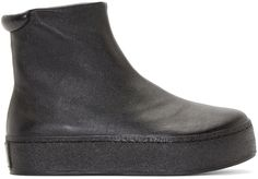 Opening Ceremony: Black Leather High-Top Slip-On Sneakers | SSENSE