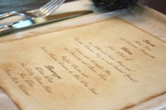 What a awesome idea for Menus, instead of just a plain paper one ;)      Menu Cards  Handstained  Perfect for Vintage or by thepaperynook, $2.50