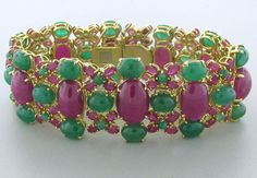 18K gold, ruby and emerald bracelet