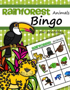Rainforest Animals Bingo game plus 4 printables for preschool. This is a fun way to teach preschoolers the names of some animals that live in the Rainforest biome/habitat, or to follow up or review a lesson.