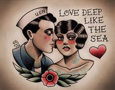 Sailor and Flapper in Love <3  Print at Parlor Tattoo Prints