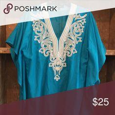 Karen Kane Turquoise tunic Turquoise tunic w/white trim-pullover. Like new. Karen Kane Tops Tunics