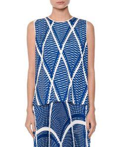 MSGM Modern Argyle Plissé Shell Top, Blue. #msgm #cloth #