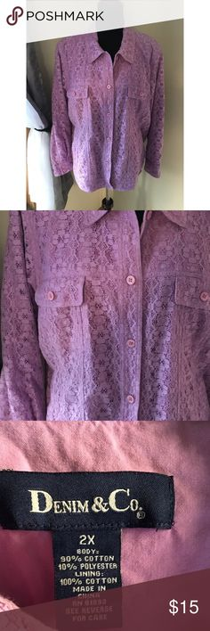 Purple Lace Jacket by Denim & Co Size 2X Denim & Co Brand jacket.  Has a jean jacket style.  Purple with purple lace overlay.   Size 2X.  Good condition.  Important:   All items are freshly laundered as applicable prior to shipping (new items and shoes excluded).  Not all my items are from pet/smoke free homes.  Price is reduced to reflect this!   Thank you for looking! Denim & Co Jackets & Coats Utility Jackets