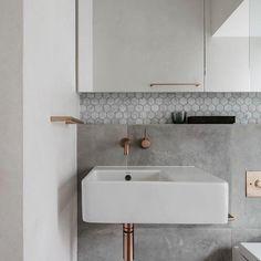 Home Interior Green .Home Interior Green Bathroom Inspo, Bathroom Inspiration, Modern Bathroom, Small Bathroom, Master Bathroom, Grey Bathroom Interior, Copper Bathroom, Bathroom Faucets, Renovation Design
