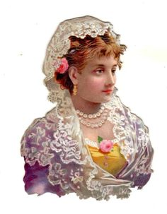 BEAUTIFUL LADY WEARING LACE Die-Cut Litho Victorian Scrap