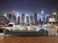 Bring the magic of New York to your home with this custom-made New York Manhattan Skyline Night wallpaper mural. FREE UK delivery within 2 to 4 working days. Bedroom Color Schemes, Bedroom Paint Colors, Manhattan Skyline, New York Skyline, New York City Tours, New York Night, Night Skyline, Wardrobe Design Bedroom, Teenage Girl Bedrooms