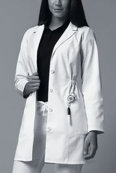 Doctors white lab coat by Dickies Medical. The 84402 is length for added protection and features princess seams for shape and comes with handy pockets