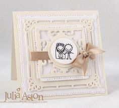 """Create With Me: A wedding card.  The wedding couple stamp is from PSA Essentials, the layers of die cuts are Spellbinders Marvelous Squares.  Inside I stamped """"Happiness is..... being loved""""  also from PSA essentials"""
