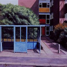 Scenes from the Passion: Bus Stop at the Top by George Shaw I so wanted him to win the Turner Prize. He would have been a daring choice BECAUSE he's a painter, not in spite of it. Urban Landscape, Landscape Art, Turner Prize, Art Alevel, Street Furniture, Nostalgia, Built Environment, Art Themes, Urban Art