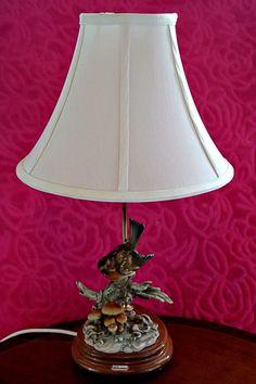 Vintage G. Armani Italian Table Lamp With Porcelain Bird Figurine #Lamps