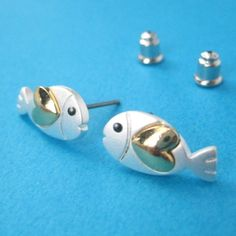 $10 Small Fish Animal Earrings in Silver with Gold Heart Detail