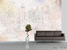 Black & White Cityscape Amsterdam Wallpaper MURAL